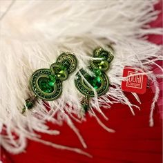 Color me pretty with our emerald green Vesper earrings! - as seen on display at Mustahoyhen boutique, Helsinki #DoriCsengeri #emerald #green #earrings #helsinki #fashion #accessories