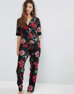 ASOS   ASOS Graffiti Floral Crepe Shirt & Long Leg Pyjama Set