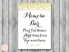 WD47c-Gold Mimosa Bar Sign, Bubbly Bar Sign, Wedding Bar