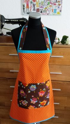 """ Orange & Eulen ""  -  Schürze/Kochschürze von XBergDesign auf DaWanda.com"