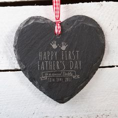 Engraved Heart-Shaped Slate Hanging Keepsake - Handprints   GettingPersonal.co.uk