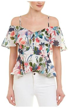 Parker Off-the-shoulder White Ruffle Top Floral Small Adjustable shoulder straps New with tags Side zipper Shoulder to shoulder Bust Length from bust to bottom White Off Shoulder, Off Shoulder Blouse, Shoulder Straps, Creation Couture, Ruffle Top, Floral Tops, Girl Outfits, Trendy Outfits, Luxury Fashion