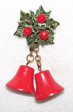 Vintage Christmas Jewelry Holly Bells Celluloid Thermoset by 1pigbeading, $8.99