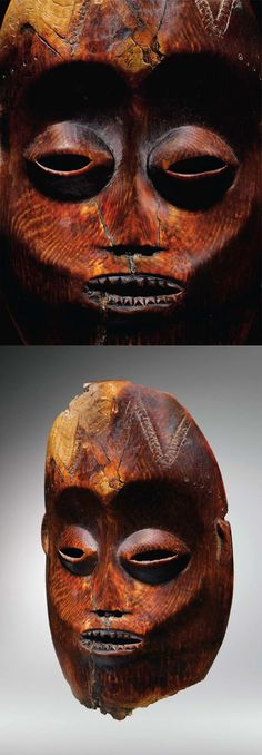 Africa | Mask from the Lega people of the Democratic Republic of Congo | Ivory; orangish brown patina. H: 19,5 cm | ca. 19th / 20th century || n Lega country, large (Idumu) ivory masks are of great significance as part of the institution of the Bwami, the combined concepts of ethics and beauty they perfectly symbolise.