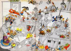 Day #21 - Superbly anarchic endpapers fun from the great Leo Baxendale from the Beezer Annuals 1963