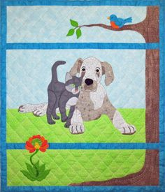 Spring applique quilt pattern. Sidekicks Quilt Pattern SCN-2066 by Spring Creek NeedleArt - Nancy Richoux.  Check out more of our quilt patterns. https://www.pinterest.com/quiltwomancom/quilts/  Subscribe to our mailing list for updates on new patterns and sales! http://visitor.constantcontact.com/manage/optin?v=001nInsvTYVCuDEFMt6NnF5AZm5OdNtzij2ua4k-qgFIzX6B22GyGeBWSrTG2Of_W0RDlB-QaVpNqTrhbz9y39jbLrD2dlEPkoHf_P3E6E5nBNVQNAEUs-xVA%3D%3D