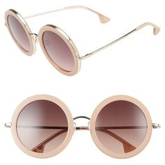 Women's Alice + Olivia Beverly 51Mm Round Sunglasses ($295) ❤ liked on Polyvore featuring accessories, eyewear, sunglasses, blush, round frame sunglasses, round sunglasses and round frame glasses