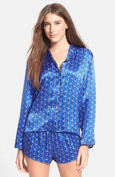 Beautiful Bottoms London 'Cobalt Kaleidoscope' Silk Satin Pajama Top available at #Nordstrom