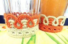 This is a glass cozy and there's a free pattern! These are great for glasses that sweat!