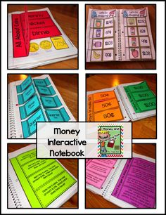 """What's included: *Explanation of Interactive Math Notebooks *Coin Posters *All About Coins (coin identification, value, heads,  tails) *Ways to Make it (25 cents, 50 cents, 75 cents, and $1.00) *4 Ways to 30 cents (using only quarters, dimes, and nickels) *Variety of Story Problems (including adding coins and making change) *Let's Go Shopping *Over 48 coin clipart cut-outs *""""Hairy"""" and """"Tap"""" Money Explanation *Photos of these interactive math notebook pages"""