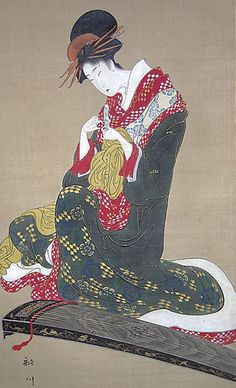 Woman Putting on Finger Plectrums to Play the Koto, by artistUtagawa Toyohiro, about 1810's