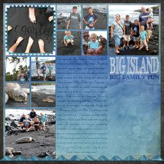 Great beach layout with lots of pictures.  Would work for a two page spread with 22 pictures.