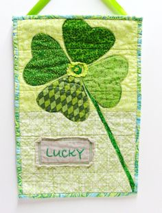 Wall quilt with shamrock Lucky hand by moonspiritstudios on Etsy