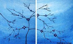 Blue Flower Original Art Painting Textured by HeatherLangeArt