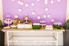 Cute food display for a wonderland or fairy party Hattie's 3rd Birthday Party - ToriSpelling.com