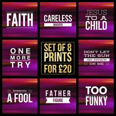 "Set of 8  George Michael Song Title Prints - Square 8x8"" Each - Quote WHAM 80s Rock Pop Music Lyric Typography Poster Wall Art Gift Mancave #georgemichael #wham #poster #faith #carlesswhisper #jesustoachild #onemoretry #dontletthesungodown #kissingafool #fatherfigure #toofunky"