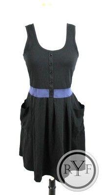 New Theory Black Navy Blue Color Block Sleeveless Knee Length Dress M | eBay
