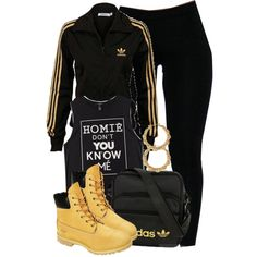 A fashion look from November 2013 featuring adidas sweatshirts, Forever 21 tops e Timberland ankle booties. Browse and shop related looks. Timbs Outfits, Lit Outfits, Cute Swag Outfits, Sporty Outfits, Teen Fashion Outfits, Dope Outfits, Stylish Outfits, Womens Fashion, Timberlands