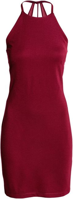 H&M - Fitted Halterneck Dress - Burgundy - Ladies