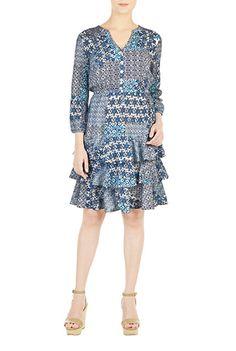 I <3 this Tiered ruffle hem patch print dress from eShakti