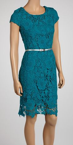 Teal Lace Belted Sheath Dress