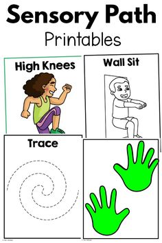 A simple way to add wall exercises to your sensory paths or motor paths. Print, laminate, and go! You will have a variety of activities to choose from and easy ways to change up your motor and sensory paths! Sensory Tubs, Sensory Wall, Sensory Diet, Sensory Motor, Sensory Rooms, Gross Motor Activities, Sensory Activities, Therapy Activities, Activities For Kids