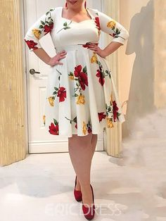 Ericdress Plus Size Floral Print Mid-Calf A-Line Sweet Dress We Offer Top Good Quality Cheap Clothes For Women And Men Clothing Wholesaler, Get Affordable Clothing At Worldwide. Office Dresses For Women, Clothes For Women, Cheap Clothes, Dress For Chubby Ladies, Curvy Women Fashion, Plus Size Fashion, Lace Gown Styles, Latest African Fashion Dresses, Latest Fashion