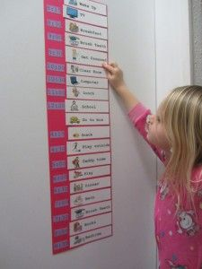 Homemade daily schedule / routine for kids. Help children know what's expected and help yourself be more organized