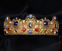 ANTONIA Blue and Red Bridal Crown Sapphire by Elviejewelrydreams