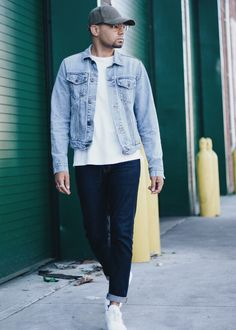 Double Denim - Dark Wash Denim Jeans + Light Wash Denim Jacket