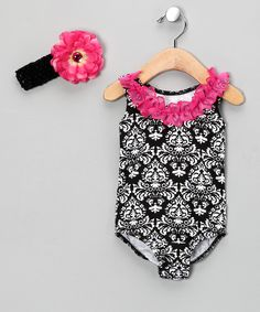 Fuchsia & Black Damask Leotard & Headband - Infant
