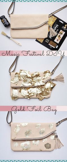 Music Festival DIY Gold Foil Bag Pinterest