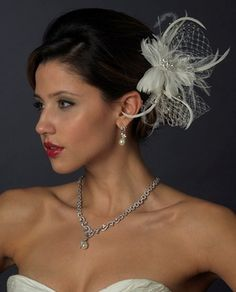 Ivory Feather Fascinator Flower Wedding Hair Clip with Pearl and CZ Jewelery! stunning! affordableelegancebridal.com