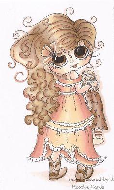 Ooak Sherri Baldy HAND COLOURED CARD TOPPER ***NEW*** Cardmaking/Embellishment