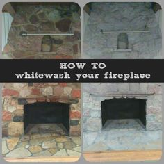 How to whitewash your stone fireplace with these easy DIY from www.CrazyDiyMom.com
