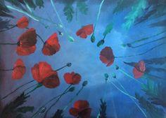 Klaprozen in het veld Painting, Art, Art Background, Painting Art, Kunst, Paintings, Gcse Art