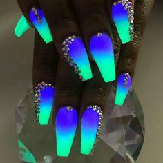 Nail Art Designs, Cute Acrylic Nail Designs, Fancy Nails, Cute Nails, Pretty Nails, Neon Acrylic Nails, Acrylic Nails Coffin Short, Coffin Nails, Nagellack Design