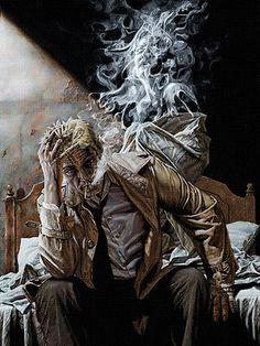 John Constantine Smoke Comic Art 24x18 Poster Canvas Print