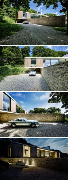 As this home is located on a sloping site, the house cantilevers out over a retaining wall faced in local Purbeck stone, and creates a sheltered parking area. Lighting has been added underneath the cantilevered section to make it easier to see at night.: