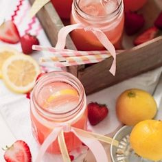 Fresh squeezed lemons and puréed strawberries combine to make the perfect pretty, sweet-tart summer drink
