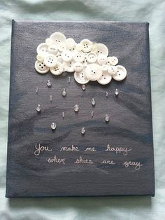 You Make Me Happy When Skies Are Gray button art on Etsy. Fun Crafts, Diy And Crafts, Crafts For Kids, Arts And Crafts, Paper Crafts, Music Crafts, Canvas Crafts, Diy Paper, Paper Art