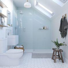 Bathroom Paneling, Loft Bathroom, Loft Ensuite, Bathroom Ideas, Small Attic Bathroom, Bathroom Inspiration, Bathroom Designs, Bathroom Shower Tiles, Sloped Ceiling Bathroom