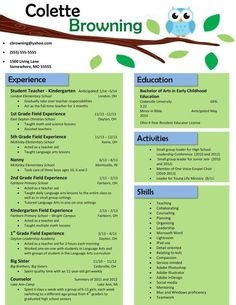 owl on a branch resume by resumerenovations on etsy 1500 - Teaching Resume Template