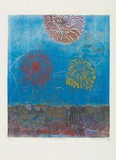"SHOICHI HASEGAWA JAPANSK 1929  ""Feu d'artifice"" Fargeetsning, 68/110. 58x49 cm Signert nede til høyre: Shoichi Hasegawa"