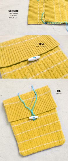 """DIY tablet/e-reader cover from a vintage sweater: """"All you need to do to make that happen is stick a wool sweater in the washing machine using hot water and then dry it in the dryer (on purpose)"""""""