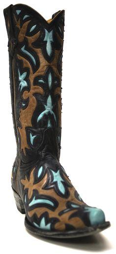 Old Gringo Women's Lylah Black Oryx Aqua Boots | SouthTexasTack.com #CowgirlGlam #CowgirlBoots #OldGringo