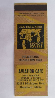Aviation Cafe Dearborn Michigan Restaurant 20 Strike Matchbook Cover Arrow Match