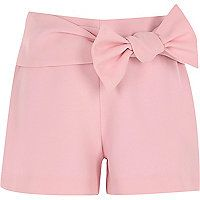 Woven crepe fabric Bow detail Elasticated rear waistband