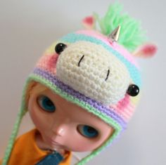 Pastel Rainbow Unicorn Hat  A Hat For Neo Blythe by ErikosEmporium - £9.00
