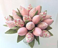 Купить Нежный букет Тюльпаны - бледно-розовый, тюльпаны, тюльпаны из ткани…